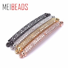 MEIBEADS 9 Style Colorful Micro Pave Zircon Bracelet Connector for Women Copper Pendant for DIY Jewe