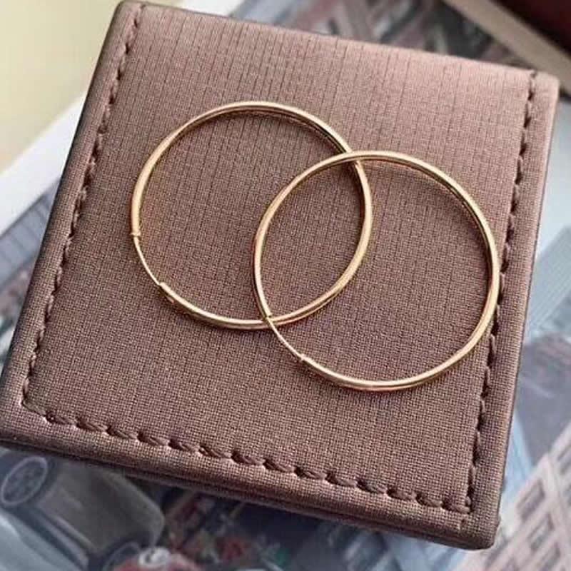 Pendientes de oro rosa de 18 quilates puro para mujer, pendientes de aro grandes