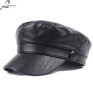 Lanxxy Solid Leather Caps Vintage pu Military Cap Women Fashion Casquette Gorras Flat Cap Hats for Women