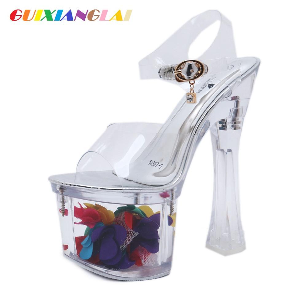 Zapatos de cristal plataforma impermeable transparente 18 CM tacones súper altos zapatillas frescas tacones gruesos estables zapatos de noche vestido de boda