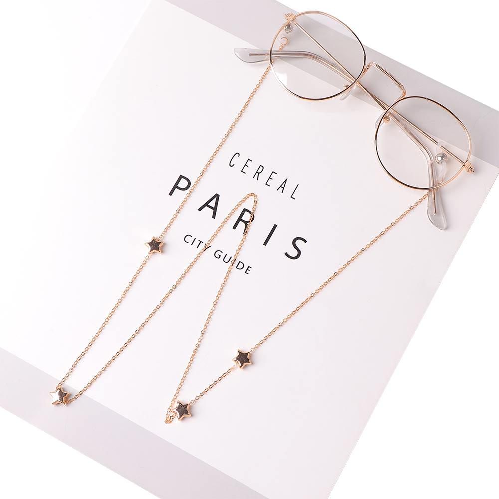 Lunettes lunettes femme   Pendentif chaînes ajouré étoile, lunettes de soleil, lunettes de lecture, chaîne porte-cordon sangle de cou, corde de mode