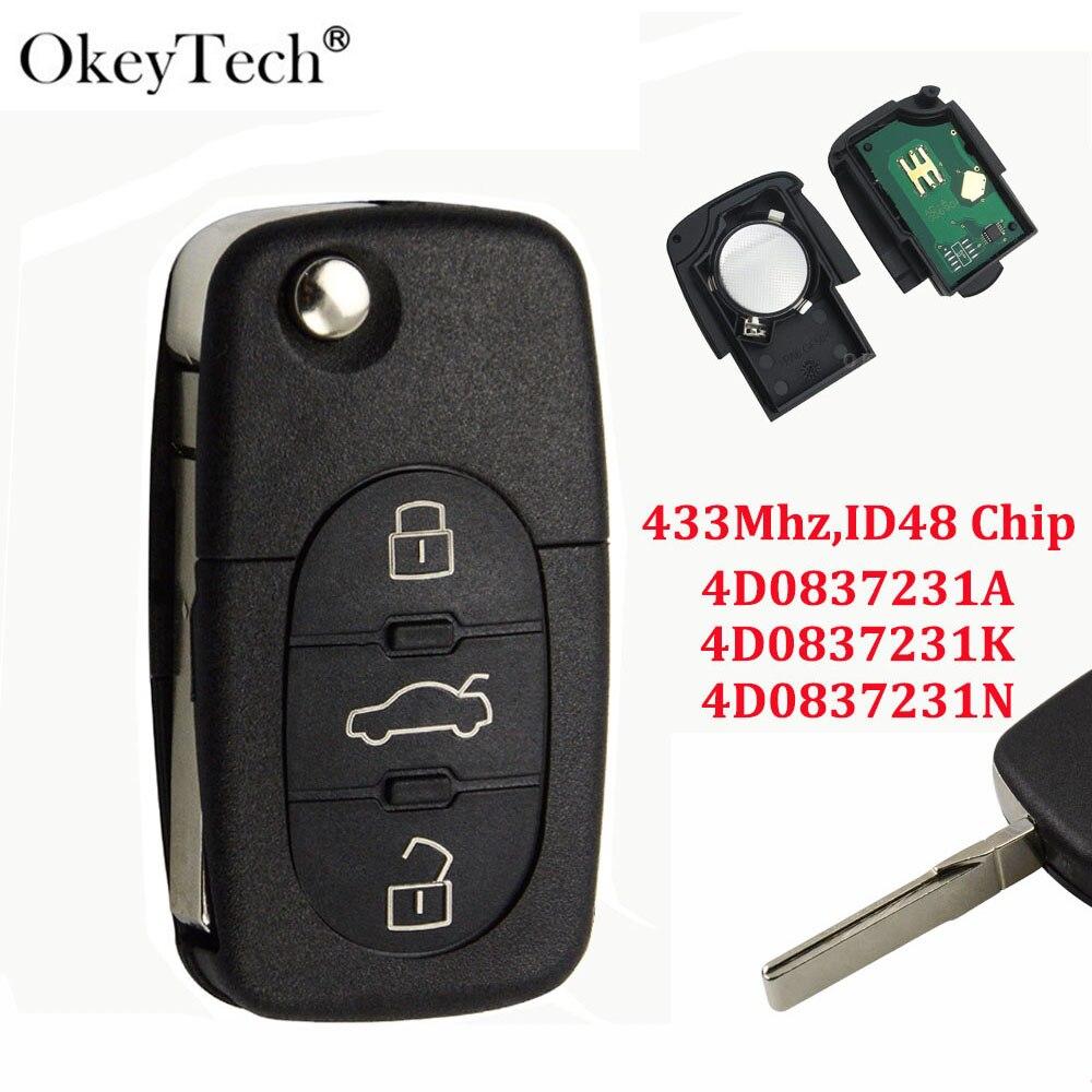 OkeyTech ключ дистанционного переключателя для Audi A3 A4 A6 A8 B5 TT RS4 Quattro старых моделей 433 МГц ID48 чип Флип складной HU66 лезвие 4D0837231A