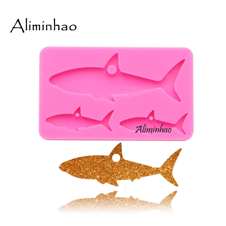 Dy0102 tubarão brilhante mãe e bebê silicone chaveiros molde chaveiro pingente argila diy jóias fazendo resina cola epoxy molde