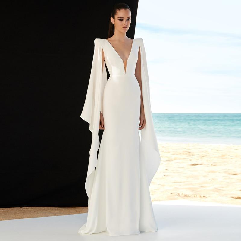 منتجات جديدة لعام 2020 ، فستان نسائي فاخر مثير برقبة على شكل V ، فستان أبيض طويل بحورية البحر ، فستان نسائي