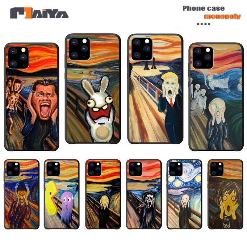 Edvard munch o grito arte pintura telefone caso coque para iphone 5S se 6s 7 8 plus x xs max xr 11 pro max casos fundas