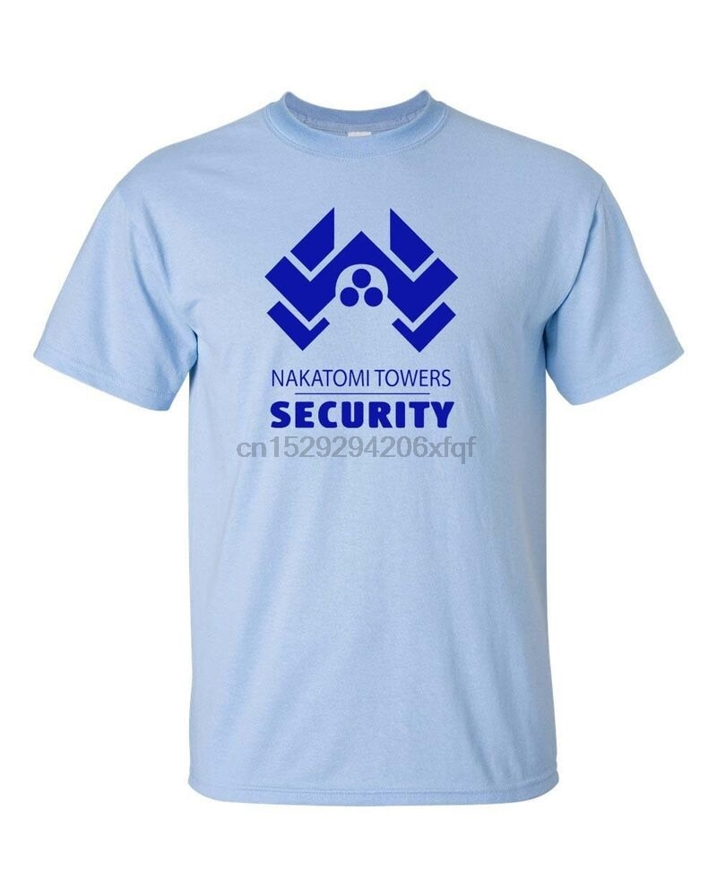 Nakatomi torres de seguridad película Die Hard Bruce Willis Mens camiseta 304 azul