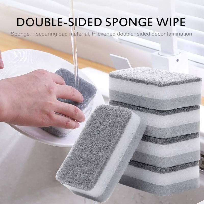 Esponja de limpieza lateral doble para el hogar, esponjas de limpieza para...