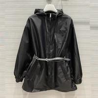 women fashion trench coats spring summer sun protection nylon hooded jackets with belt oversize women windbreaker
