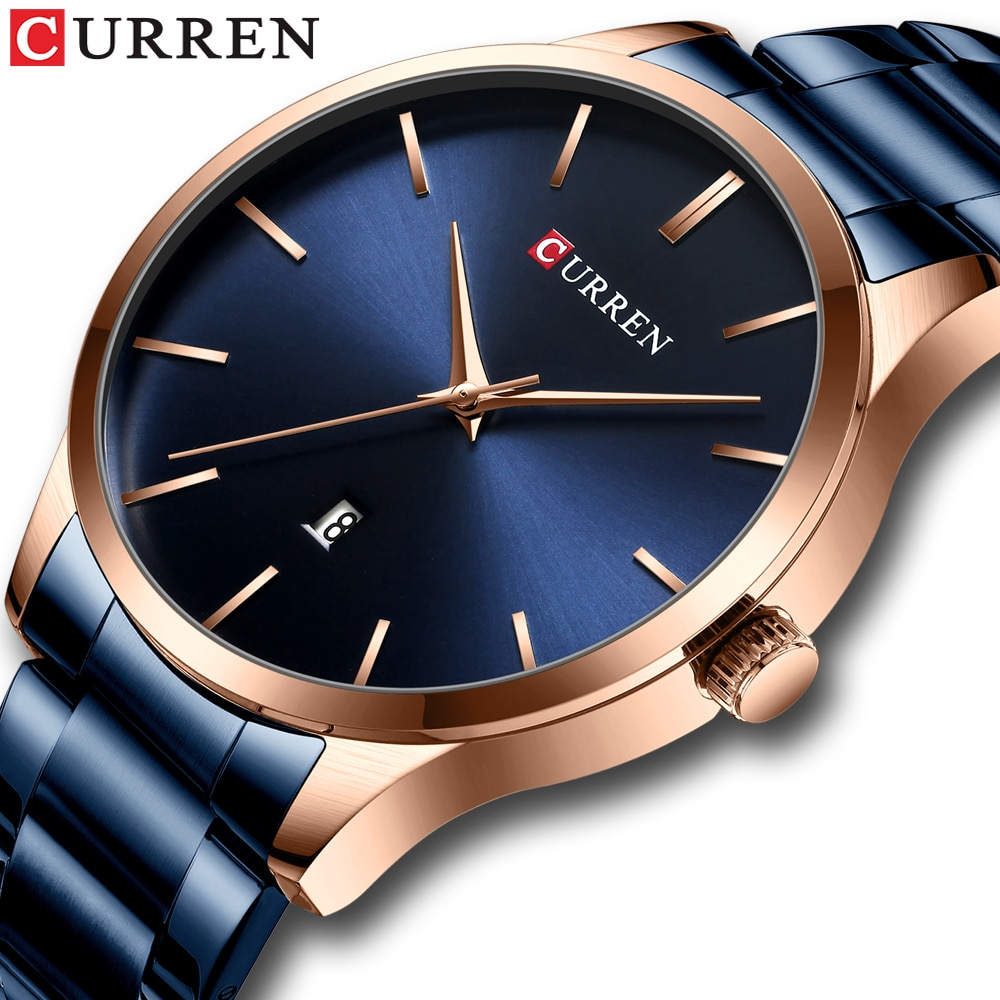 Watch Men Fashion Style CURREN Classic Quartz Watches Stainless Steel Band Male Clock Business Men's
