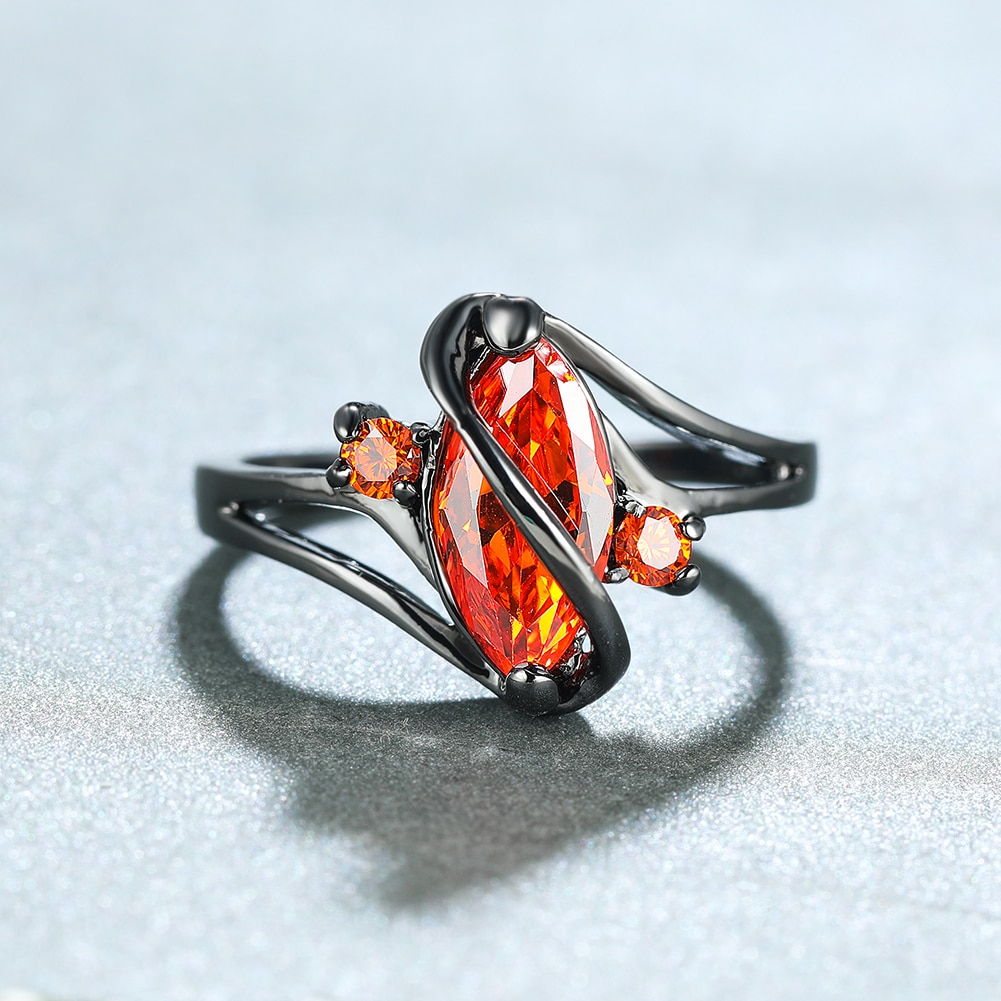 Vintage Female Red Crystal Stone Ring Classic 14KT Black Gold Wedding Rings For Women Luxury Bride Leaf Zircon Engagement Ring  - buy with discount