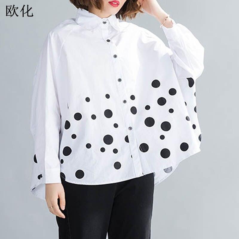 2020 verão blusa feminina plus size 4xl 5xl 6xl algodão oversize batwing manga vintage polka dot cardigan camisa feminina