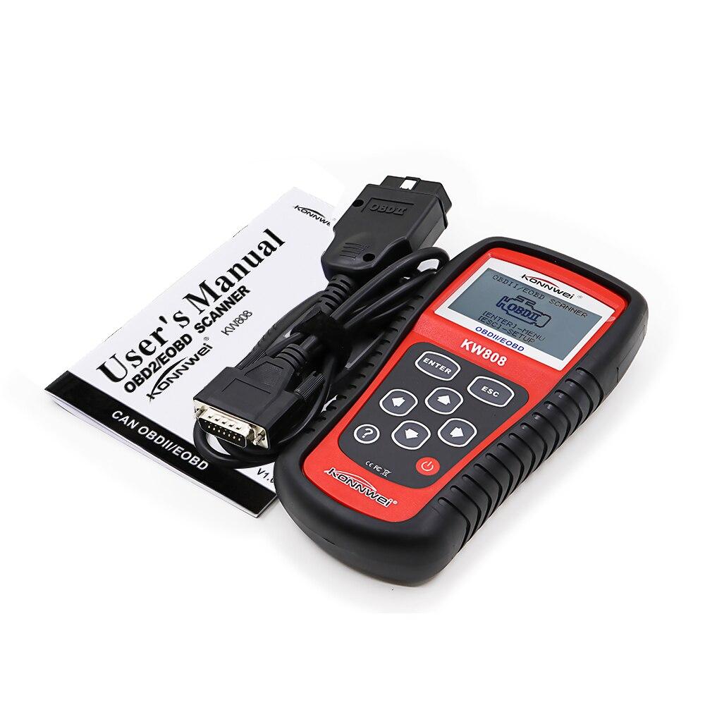 Новое поступление OBD бренд KONNWEI KW808 OBDII / EOBD может считыватель кода двигателя диагностический тестер автомобиля