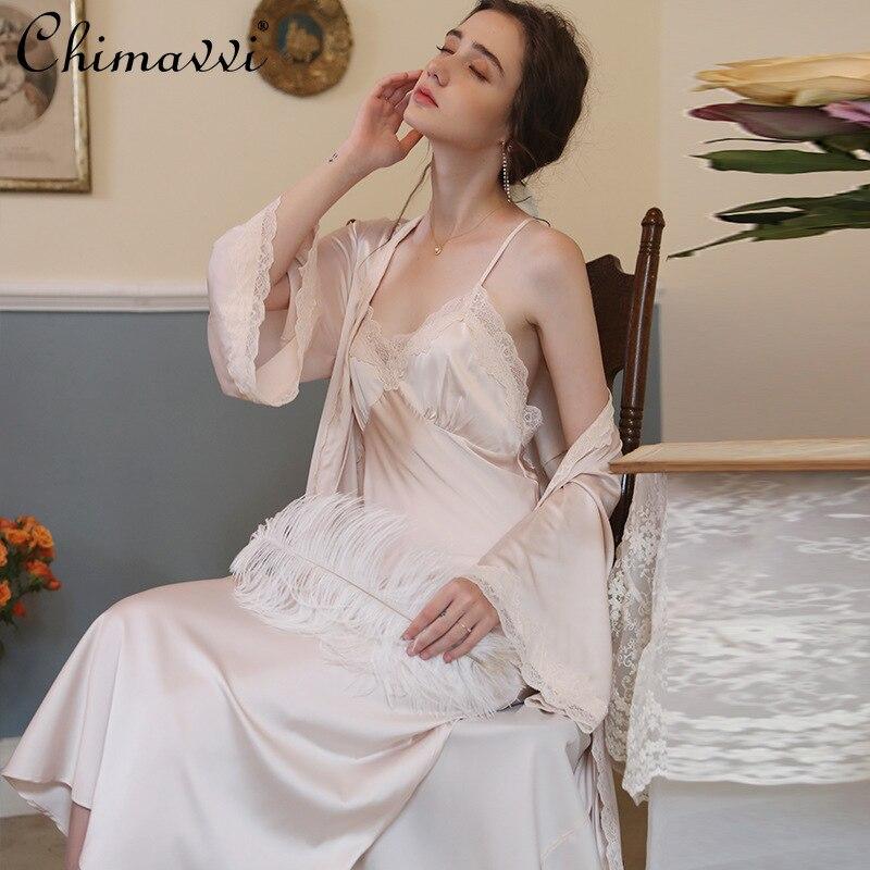 2021 الربيع و الصيف جديد مثير ثوب النوم المرأة قطعتين مجموعة الجليد الساتان الدانتيل منامة المتسكعون دعوى الوردي رداء مجموعة
