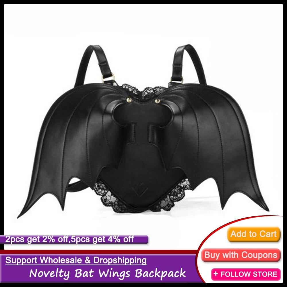 حقيبة ظهر على الطراز القوطي للنساء ، حقيبة ظهر بتصميم أجنحة الخفافيش ، بانك ، لوليتا ، للهالوين ، 2021