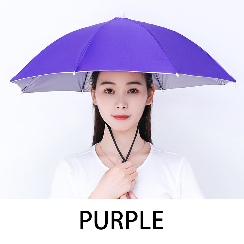 Outdoor Umbrella Hat Head Wear Parasol Portable Army Green Foldable Sun Shade Waterproof for Camping Fishing Travel Head Hats