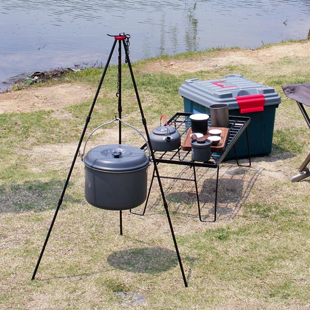 Acampamento ao ar livre piquenique panelas tripé durável portátil liga de alumínio pendurado gancho cozinhar pot grill equipamentos campismo
