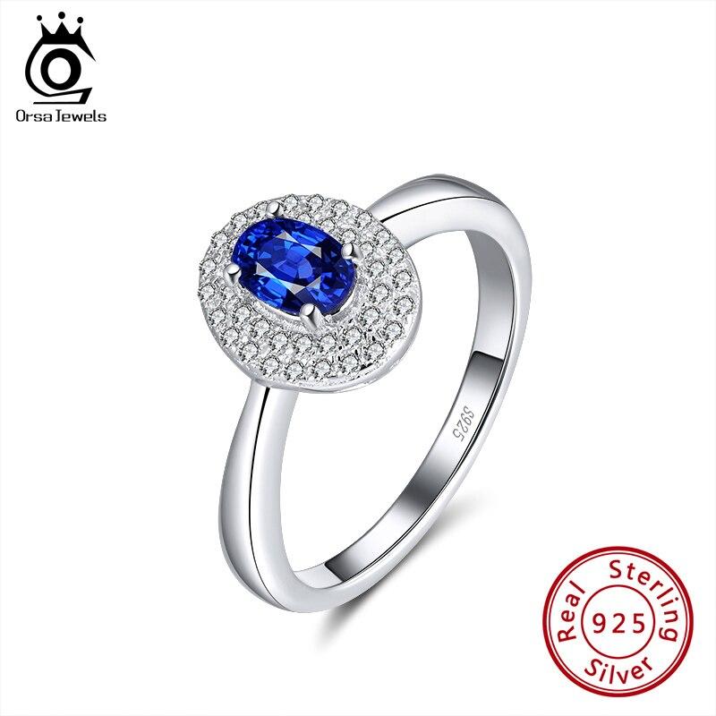ORSA JEWELS lujosa plata de ley azul grande anillo de circón perfectamente pulido accesorios de anillo de fiesta joyería fina de moda SR175