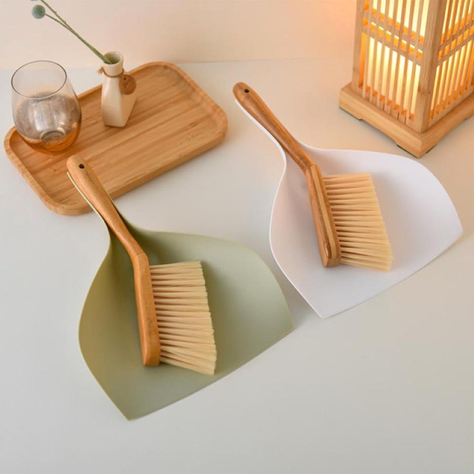 Bamboo Handle Mini Brooms Shovel Set Household Plastic Cleaning Brush Small Broom Dust Shovel Office