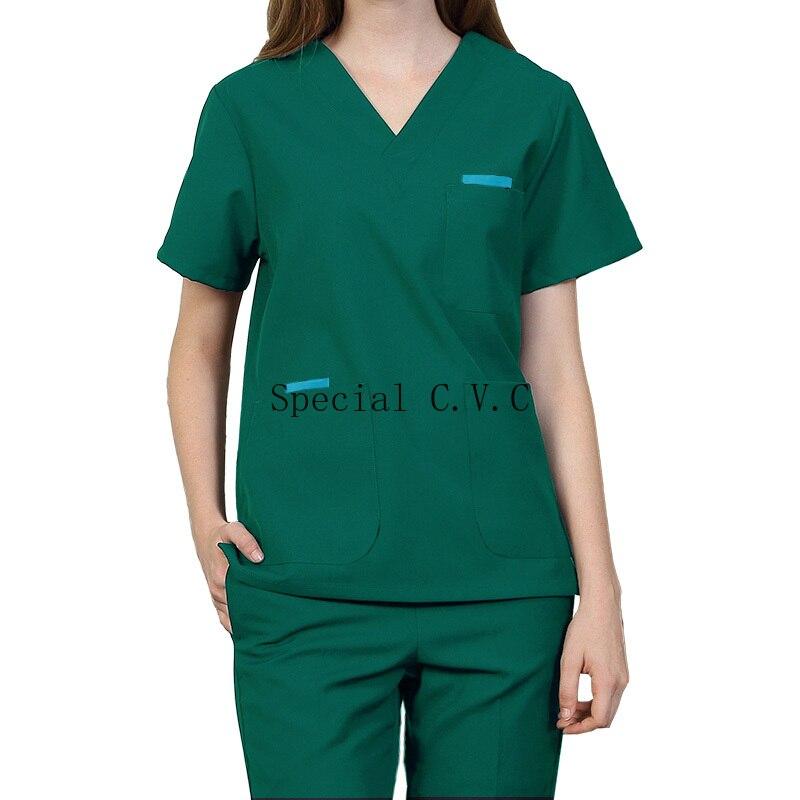 Mulher esfrega superior algodão enfermagem uniformes de manga curta médico workwear roupas v pescoço superior spa saúde farmácia roupas de trabalho (um topo)