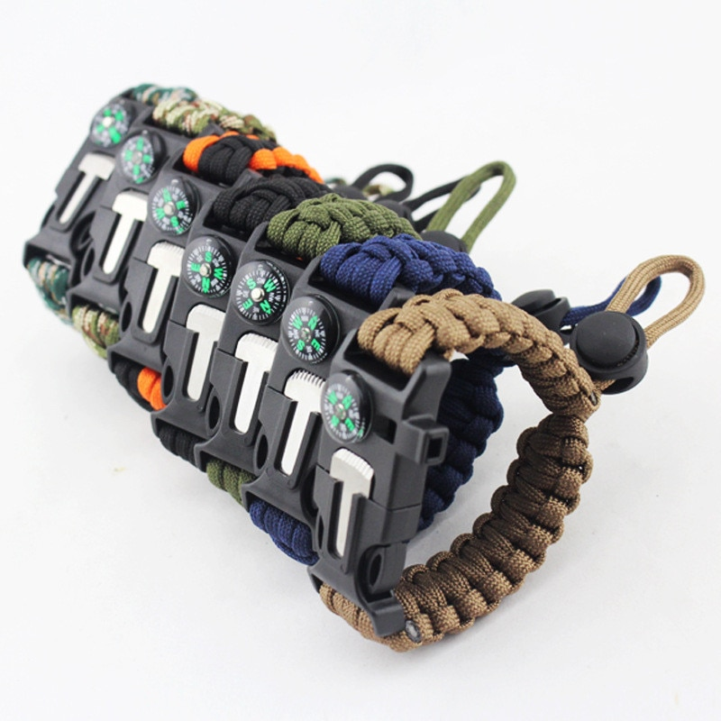 Braided Handmade 4 Whistle in Bracelet Survival Compass 100PCS Outdoor By Rope Rope 1Multifunction Paracord Emergency DHL Knife