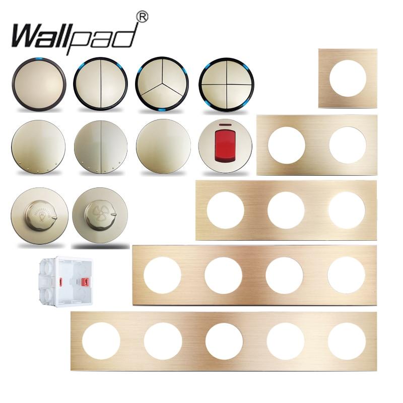 Wallpad-مفتاح حائط LED من الألومنيوم الذهبي L6 ، 1 ، 2 ، 3 ، 4 مفاتيح ، مستشعر خطوة ، تركيب مجاني