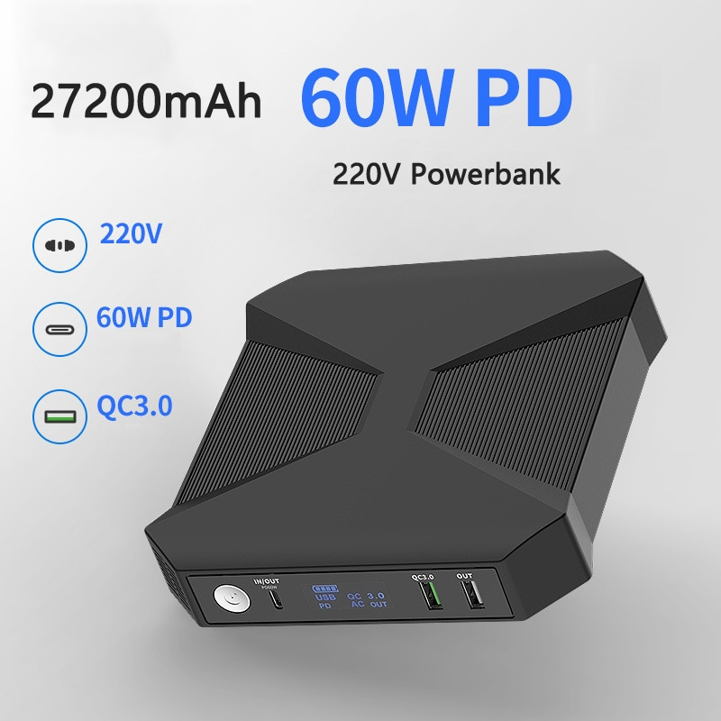 Get Power Bank 272000mAh Portable Charger External Battery Powerbank PD 60W for Laptop Fast Charging PoverBank for iPhone Xiaomi mi
