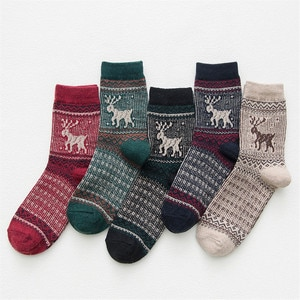 High Quality 5Pairs/Lot Women Wool Socks Autumn Winter Mid-tube Socks Christmas Deer Head Ladies Warm Socks New