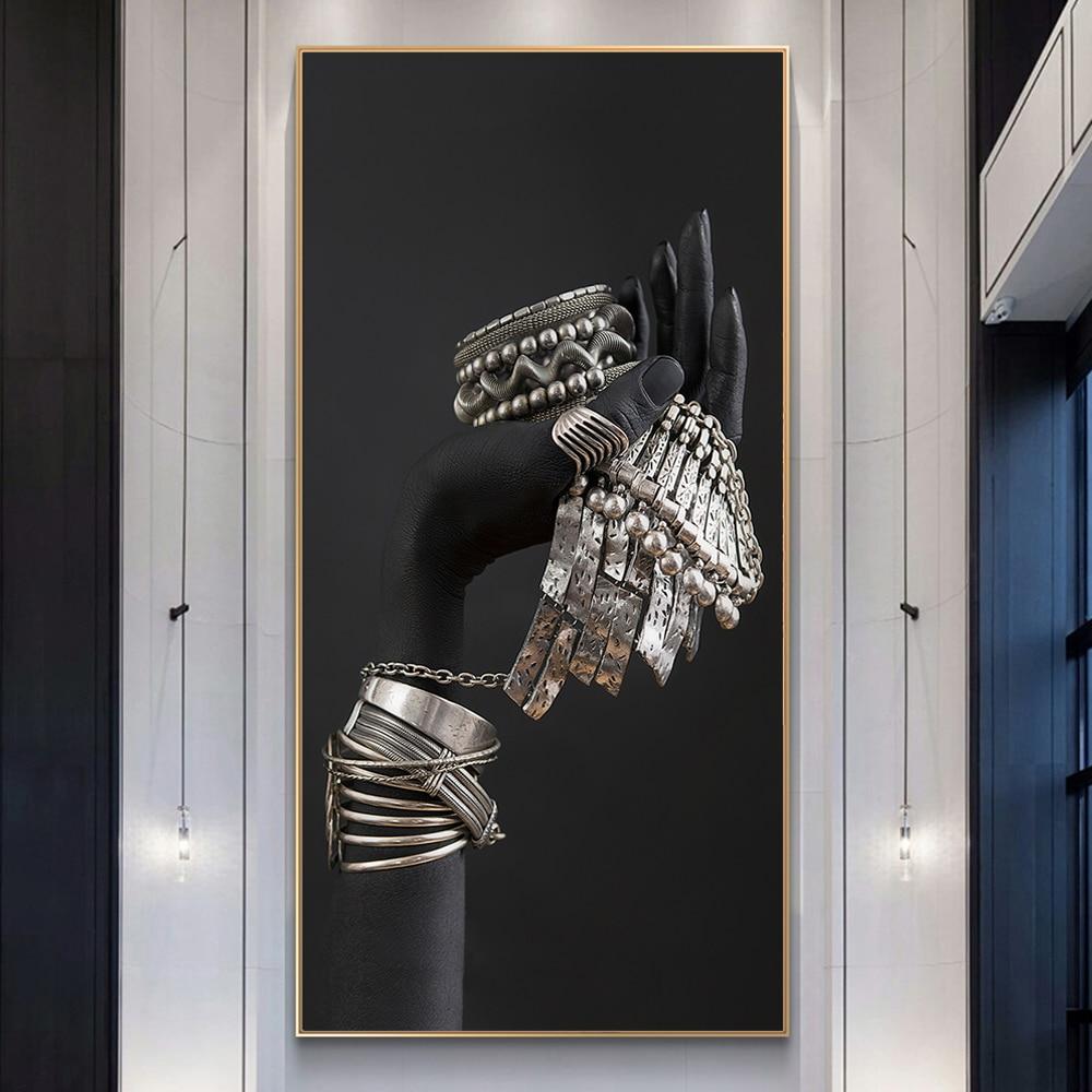 Pósteres de lienzo con joyas de plata Manos negras, modelo de Manos negras con impresiones artísticos e impresiones artísticas, pinturas sobre lienzo de pared, imágenes artísticas