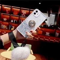 luxury glitter phone case for iphone 12 11 pro max 6 7 8 plus se 2020 xr xs max x 12mini plush hairball ring holder stand cover