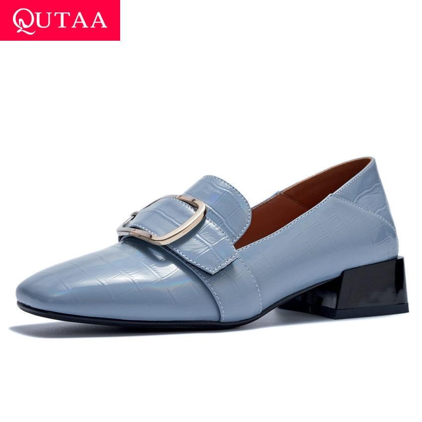 QUTAA 2020 Quality Cow Leather Slip on Single Shoes Retro Square Toe Ladies Pumps Square Heel Fashion Women Shoes Big Size 34-42