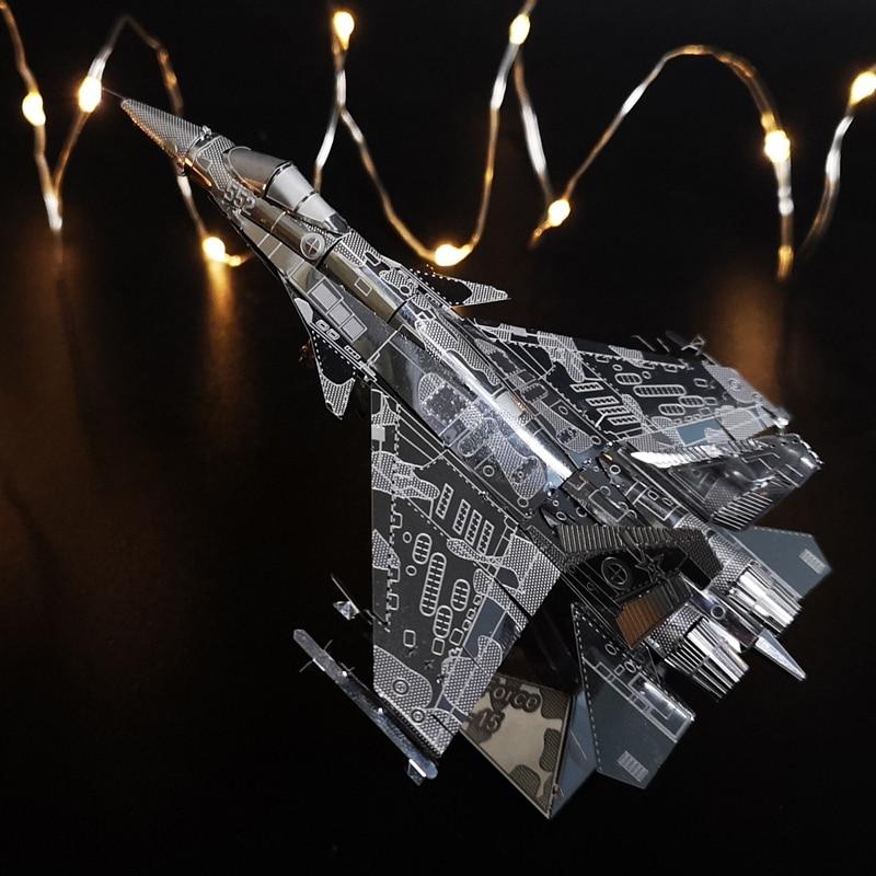 Estrela de ferro força aérea J-15 3d quebra-cabeça metal montagem modelo brinquedos criativos presentes das crianças aço inoxidável avião lutador