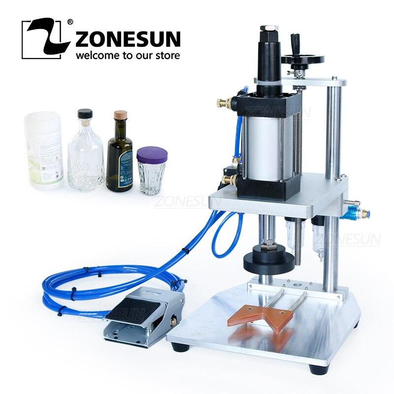 ZONESUN منضدية هوائي تاج كابر الحليب علبة معدنية للبودرة غطاء زجاجة نبيذ الفلين آلة الضغط السد