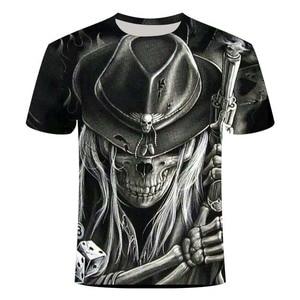 Summer new men's T-shirt 3D skull fashion short-sleeved shirt street round neck neutral casual T-shirt