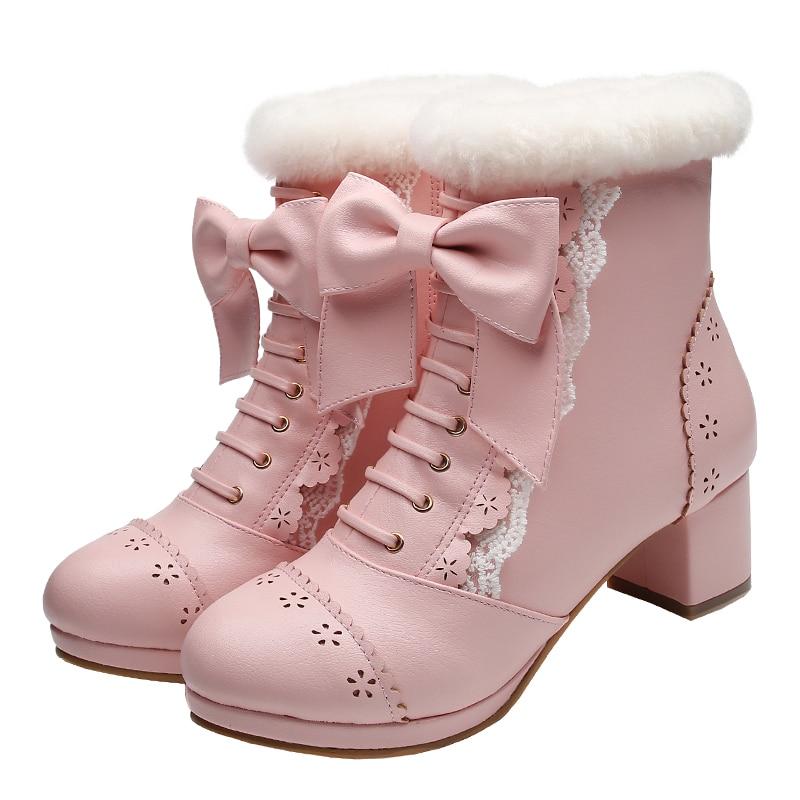 Japanese sweet beauty short boots bow platform thick heel mid tube Lolita shoes Kawaii Girl Tea Party Vintage Sweet cos loli