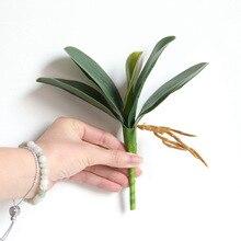 1 Uds. Phalaenopsis planta con hojas artificiales hojas decorativas flores decoración floral de material auxiliar orquídea hojas tacto real