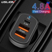 USLION PD Car Charger Mobile Phone USB Charger For iPhone 12 Pro Max Xiaomi Phone PD usbc Fast Charging Car Mobile Phone Adapter