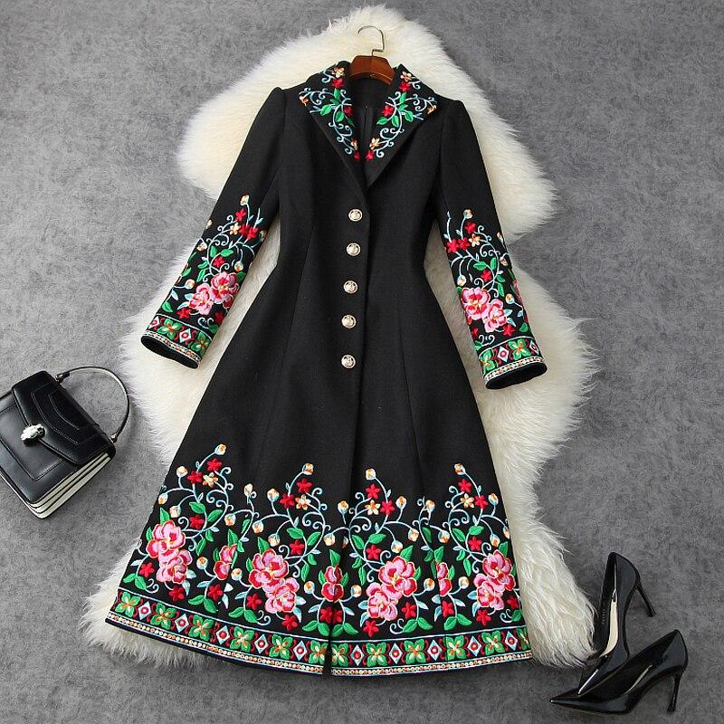 2020 neue Retro gestickte mäntel Woolen mantel verdickt warme lange mantel mode Retro Chinesischen Stil Frauen Kleidung Winter Jacke