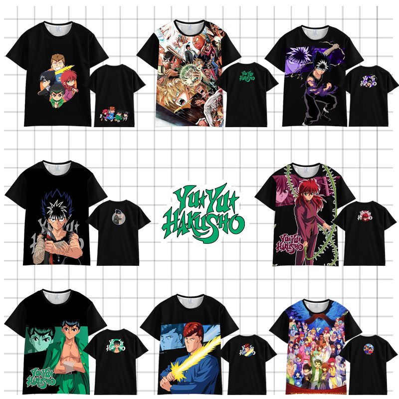 Camiseta japonesa de Anime YuYu Hakusho para hombre y mujer, vestido de verano de manga corta con dibujos animados yu hakusho, camisetas Unisex Harajuku