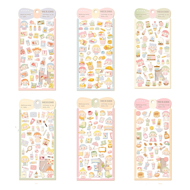 1Pc Girls Cosmetics Delicious Food Series Decorative Sticker Scrapbooking DIY Dairy Stationery Stickers Album Label
