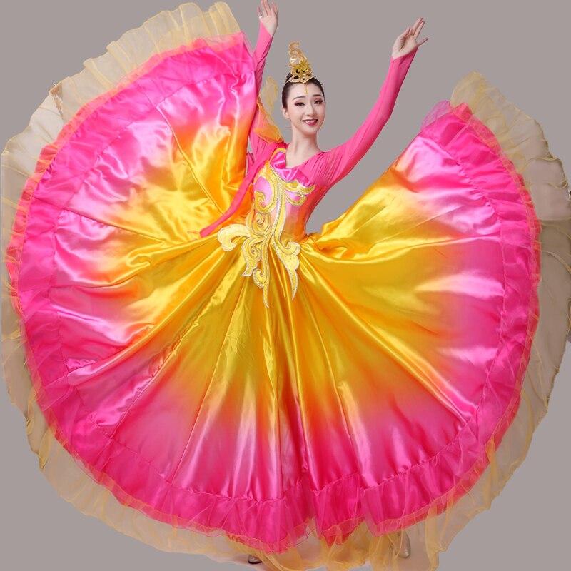 Размера плюс юбки испанского фламенко, открытое танцевальное платье с большим маятником, для взрослых женщин, костюм для современных танце...