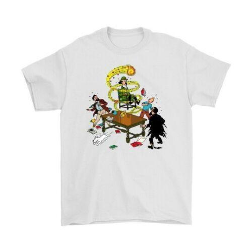 Camiseta blanca de manga corta de Tintin The Seven Christal Balls talla M-2XL