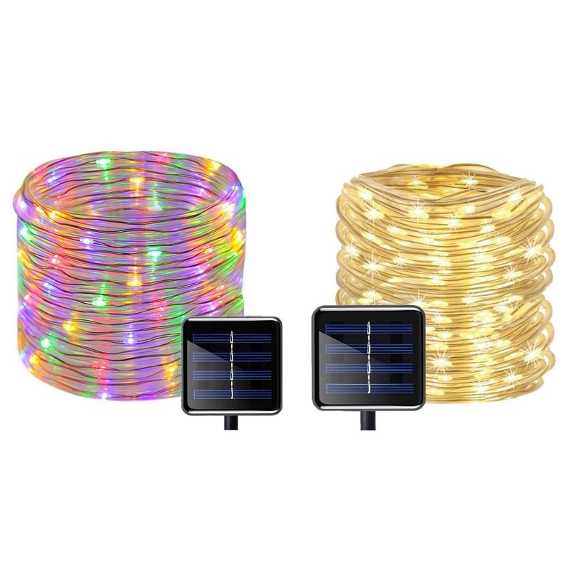 2 قطعة 100 المصابيح الشمسية ضوء سلسلة مقاوم للماء حبل أنبوبي أضواء في الهواء الطلق حديقة شجرة مصباح متعدد الألوان والأبيض الدافئ