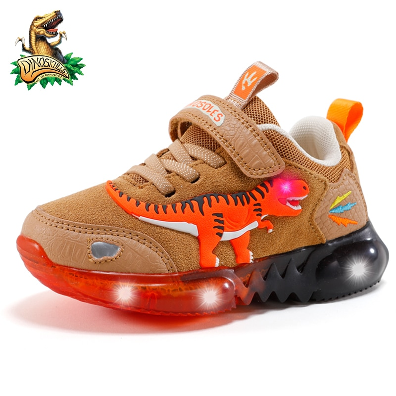 DINOSKULLS T-Rex Boys Autumn Winter Shoes Children Jelly Sole LED Blinking Suede Leather Breathable