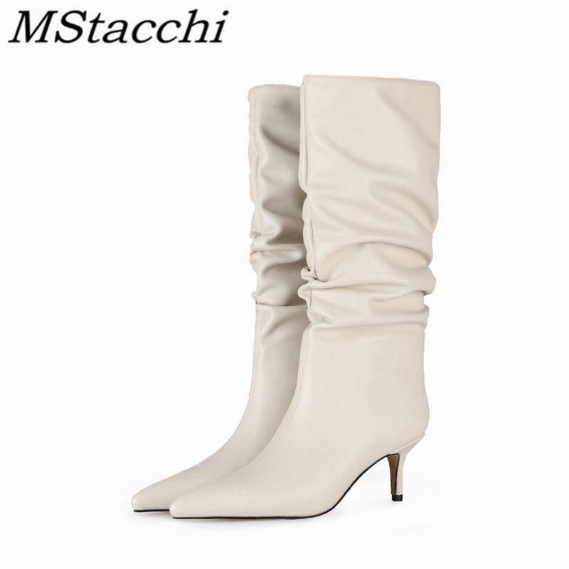 Dedo do pé Sapatos de Festa Mstacchi Feminino Mid-calf Botas Sexy Cor Sólida Couro Dobras Apontou Saltos Finos Stiletto Tamanho Grande 34-45