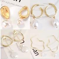 k%c3%bcpe vintage fashion pearl earrings for women golden irregular metal hanging woman earring jewelry wholesale aretes de mujer