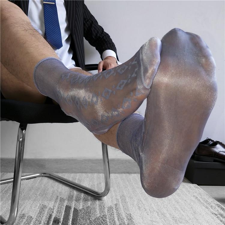 Calcetines de tubo calcetines de hombre de negocios vestido y medias Calcetines transparentes exóticos ropa Formal Sheer Sock Suit hombres Sexy transparente TNT Calcetines