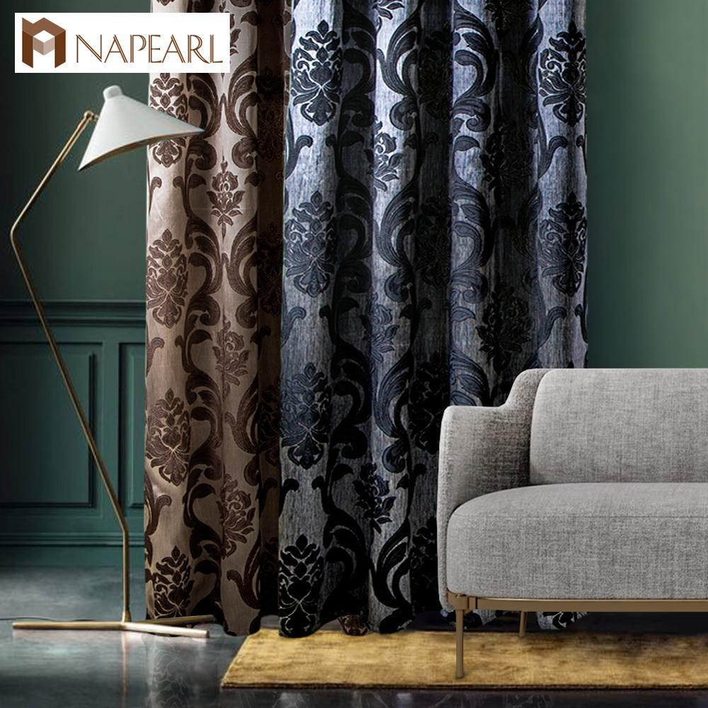 1 PC NAPEARL Curtain window living room jacquard fabrics luxury semi-blackout curtains panel living room black curtain