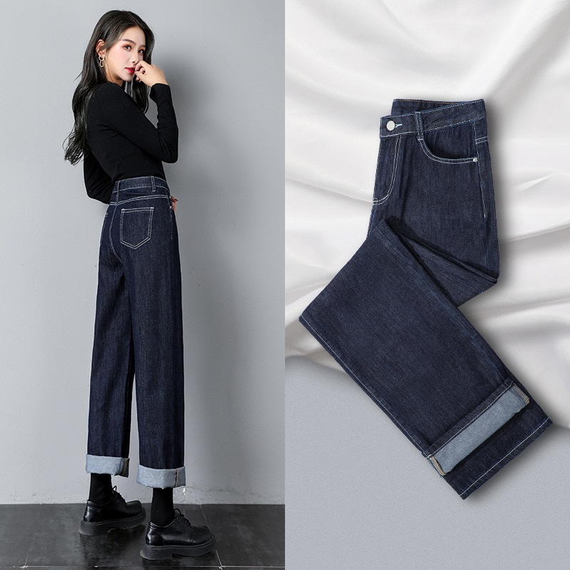 Распродажа, джинсы, женские летние джинсы, однотонные джинсы с высокой талией, темно-синие широкие джинсы
