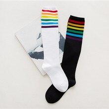 Fashion high quality Thigh High Socks Over Knee Rainbow Stripe Girl Comfortable long Socks Black White Soft Meias Elastic Sock#D