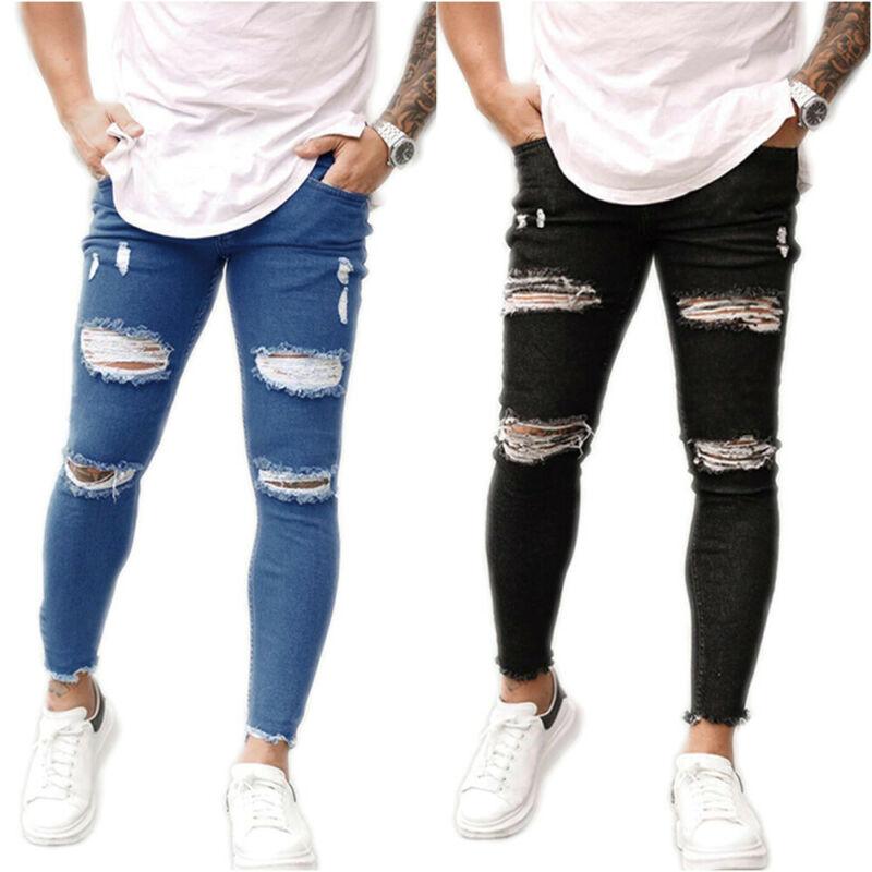 Мужские Стрейчевые зауженные рваные джинсы брюки мужские повседневные зауженные джинсовые длинные брюки